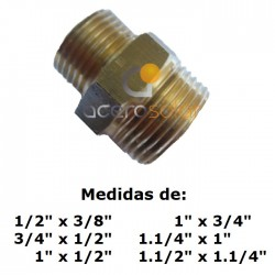 """Machón doble rosca GAS/BSP de asiento plano de 1/2"""""""